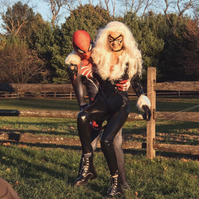 "Gigi Hadid and Zayn Malik coordinated their Halloween costumes as Spider-Man and ""Spidey's girl."" The supermodel shared this outdoorsy photo with the caption, ""HAPPY HALLOWEEN from #FeliciaHardy, The Black Cat xx ""