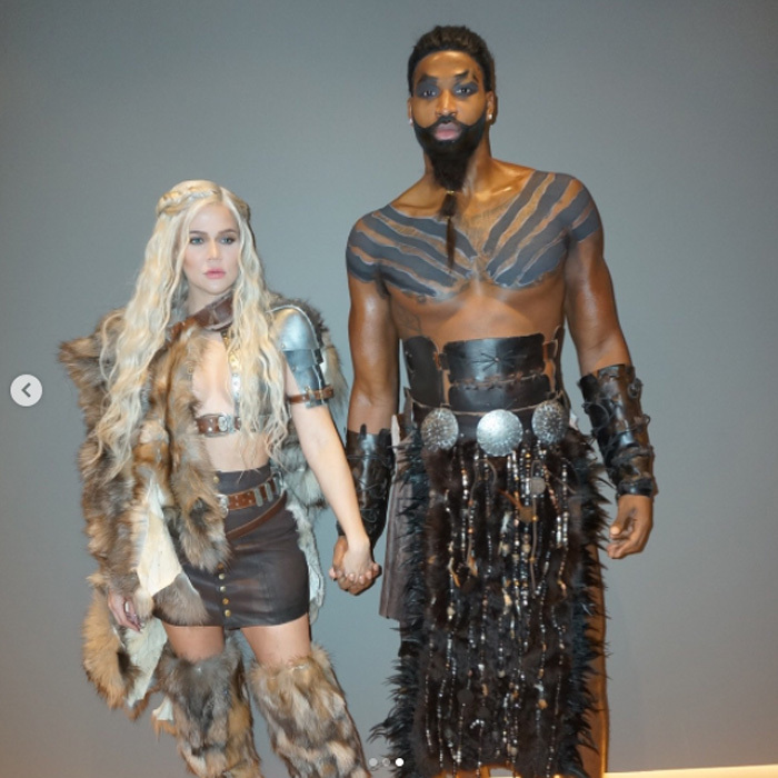 "Khloe Kardashian shared several photos of herself with boyfriend Tristan Thompson in <i>Game of Thrones</i> characters Daenerys Targaryen and Khal Drogo for Halloween. The expectant mom also posted a photo of the two kissing with the caption, "" Moon of my life ."" 
