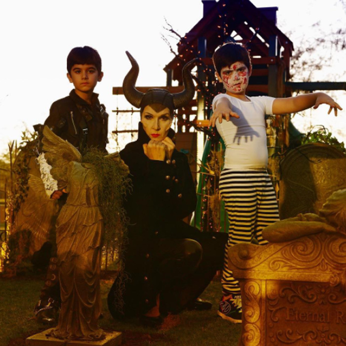 Celine Dion turned into Maleficent for Halloween with her sons Eddy and Nelson. The trio posed for friend Denise Truscello.