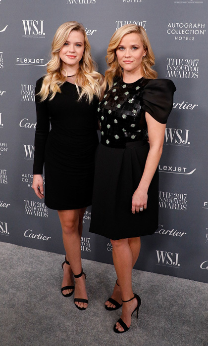Reese Witherspoon and her daughter Ava Phillippe matched with their black knee-length dresses and same heels at the 2017 WSJ Magazine Innovator Awards at NYC's Museum of Modern Art.
