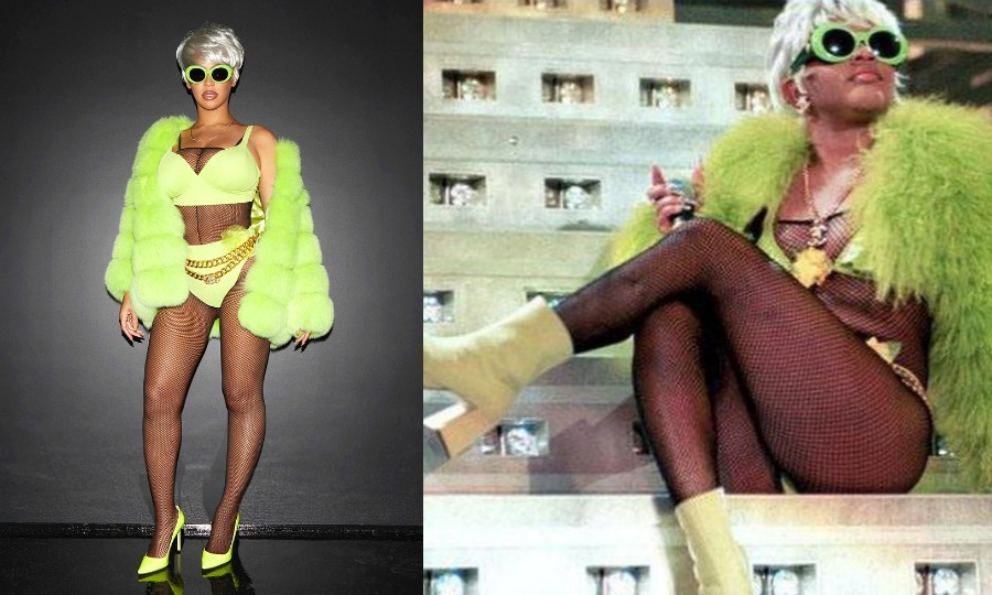 "The 36-year-old superstar opted for top designers when recreating the fashion statements. Seen here, she popped on a bright green Tzarina fur coat. ""Hip Hop would not be the same without our original Queen B,"" it said on Beyoncé's official website.