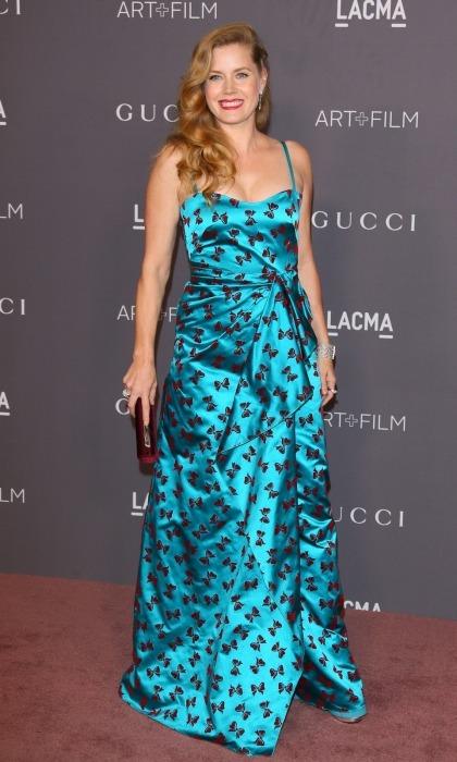 Tie it with a bow! Amy Adams opted for a bold aqua Gucci gown which had spaghetti-straps and a fabulous red bow pattern. The five-time Oscar nominee wore her waving strawberry locks to the side and carried a matching clutch as she attended the A-list event with her husband Darren Le Gallo.