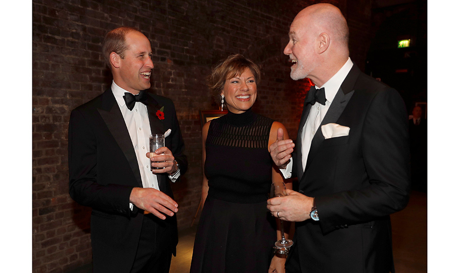What's so funny? Prince William shared a laugh with journalist Kate Silverton and royal PR guru Paddy Harverson, Communications Secretary to The Prince of Wales and The Duchess of Cornwall, at a gala night for the conservation charity Tusk at The Roundhouse in London on November 2.