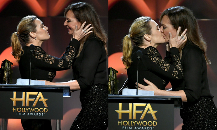 "Kate Winslet received much more than her award during the Hollywood Film Awards. As she stood on stage accepting the honor from her <i>Divergent</i> co-star Shailene Woodley, the British star decided to acknowledge others in the room. ""What a great room this is to be in tonight, filled with so many achievements and such powerful creativity,"" she said. ""I'm deeply appreciative of this acknowledgement, at a time when the voices of artists play such an important role in storytelling and pushing boundaries, and that feels necessary today—more than ever before, I think.""