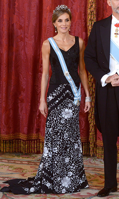 For the official dinner for Israel's President at the Royal Palace in Madrid, the Spanish Queen reached way back into her wardrobe for this Lorenzo Caprile skirt. The traditionally embroidered 'mantón'-style piece has been in Letizia's closet since around 2004. The royal completed her outfit with the floral tiara that was given to her by her mother-in-law Queen Sofia.