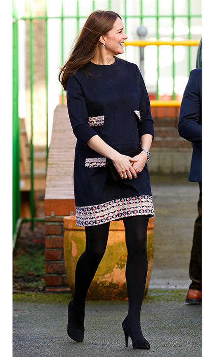 Duchess Kate wore pink *and* blue in her wardrobe palette, keeping everyone guessing about the gender of baby number two! The royal donned a blue and pink dress from Madderson London on January 15, 2015 as she arrived at Barlby Primary School.