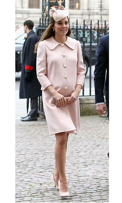 Was Catherine, Duchess of Cambridge giving us a hint about the baby's gender as she attended the Commonwealth Day service at Westminster Abbey on March 9, 2015? Well, probably not. The 33-year-old Duchess wrapped up warm in a pale pink Alexander McQueen coat which she previously wore in 2013 at Trooping the Colour, one of her final engagements before the birth of Prince George.