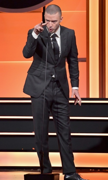 "Justin Timberlake, who starred with Amy in the 2012 sports drama <i>Trouble with the Curve</i>, also gave an animated speech about the actress on stage before the crowd. The 36-year-old <i>Can't Stop the Feeling!</i> singer looked dapper in his signature ""suit & tie"" style.