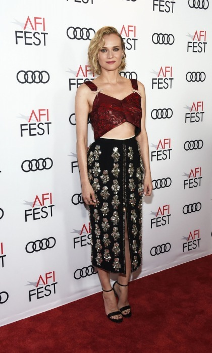 Diane Kruger made a chic statement on the 2017 AFI Fest carpet on November 10 at the TCL Chinese Theatre in Hollywood. The 41-year-old actress rocked a dazzling N°21 crop top and skirt, which she paired with Jimmy Choo heels, while attending a screening of the classic movie <i>Guess Who's Coming to Dinner</i>.