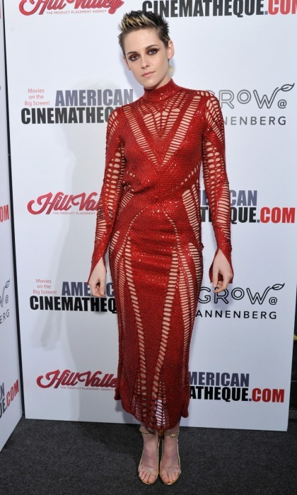 Kristen Stewart was red hot as she supported Amy Adams at the 31st American Cinematheque Award presentation at The Beverly Hilton Hotel on November 10 in Beverly Hills. The 27-year-old's look was on fire, from her Julien Macdonald dress to her matching eye makeup.
