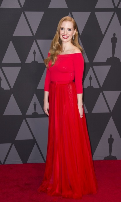 Red hot Jessica Chastain looked ravishing as she brought her style A-game to the event. The 40-year-old stunner, who presented during the show, rocked an off-the-shoulder Alexander McQueen gown that was complimented by her hair and lipstick.