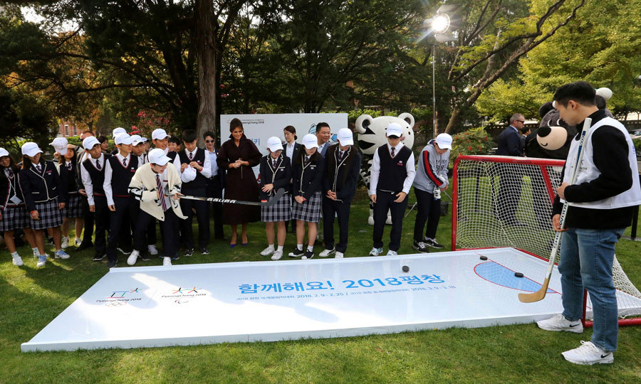 "The first lady helped kick off the ""Girls Play 2!"" Initiative less than 100 days ahead of the Pyeongchang 2018 Winter Olympics. Melania was on hand to encourage female participation in sports.