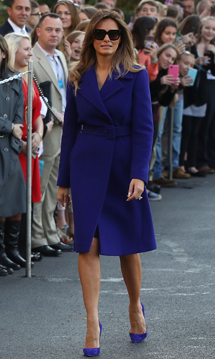 First Lady Melania and President Donald Trump departed the White House on November 3 to begin their 11-day trip to Asia. Barron Trump's mother showed off her fashion credentials wearing a cobalt belted fit-and-flare coat by Emilio Pucci. The first lady completed her stylish look with her signature stilettos and shades.