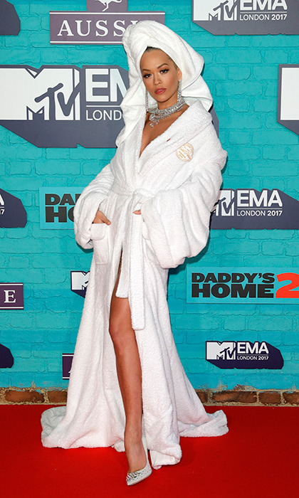 Comfort and glamour combined for Rita Ora's 'straight-out-of-the-bathtub and drenched in diamonds' look by Palomo Spain. 