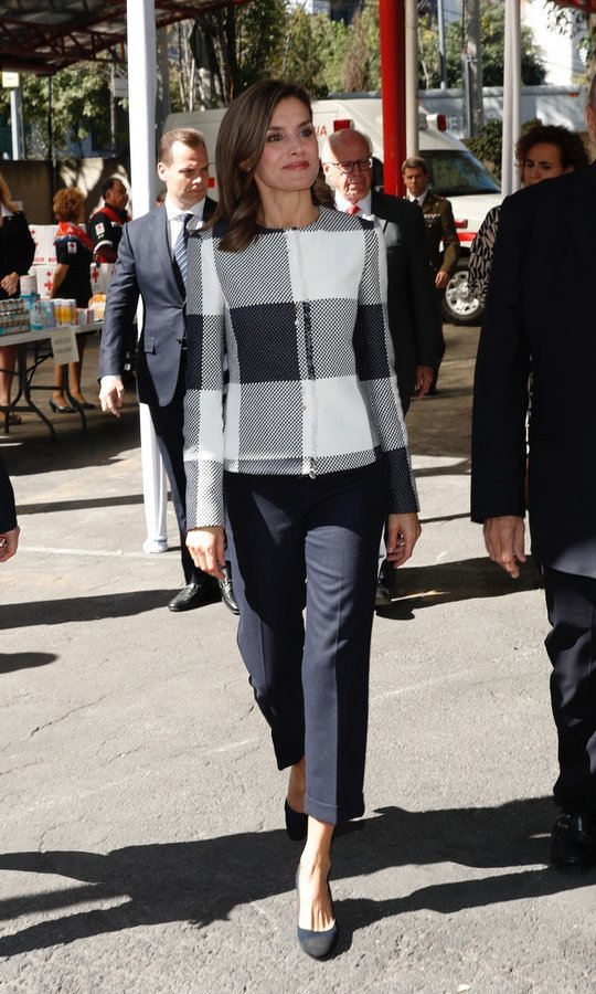 Also ready to head to work was Queen Letizia, who wore the navy blue BOSS by Hugo Boss 'Karolie' jacket as she headed to the Red Cross Mexico headquarters in Mexico City on November 13. King Felipe's wife teamed the piece with tailored trousers by the label. 