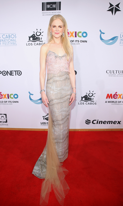 Nicole Kidman wore a Ermanno Scervino silver gown to the Los Cabos International Film Festival in Cabos San Lucas, Mexico. The actress attended on behalf of her film <i>The Killing of a Sacred Deer</i>.