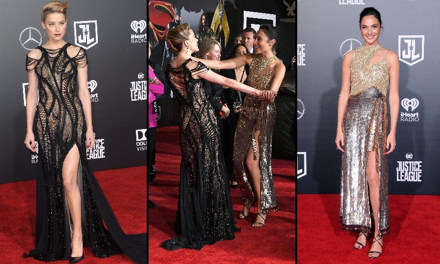 Amber Heard and Gal Gadot, who looked equally stunning, had a moment reuniting at the <i>Justice League</i> premiere presented by Mercedes-Benz in Hollywood. Amber, who wore her blonde locks swept back, wore an Atelier Versace gown with a high slit. The <i>Wonder Woman</i> actress also chose to wear a high slit, but went with an Altuzarra number.