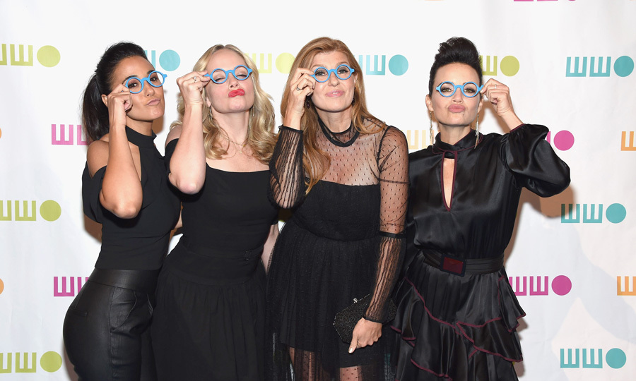 Emmanuelle Chriqui, Marley Shelton, Connie Britton and Carla Gugino all donned the blue glasses during the Worldwide Orphans Gala in NYC. The foursome coordinated in black dresses for the occasion held at Cipriani Wall Street. 
