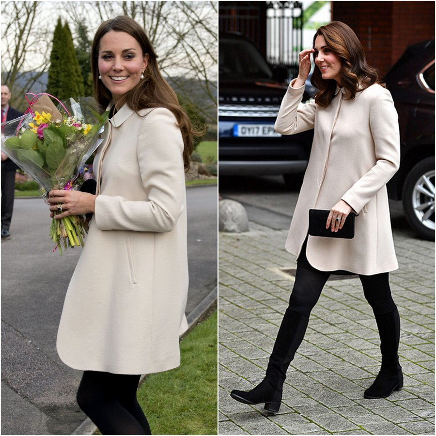 The Duchess has found the perfect complement for her cream colored GOAT 'Redgrave' coat – black tights! That was her look of choice when she first wore the coat with pumps and pearl earrings in March 2013 during a charity visit in Buckinghamshire, left. In November 2017, right, the royal's hair was a bit longer, but the combination was the same, showing that a great ensemble is truly timeless. 