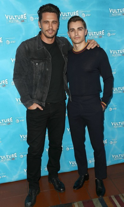 Double 'disaster'! James Franco and his brother Dave Franco also attended the Vulture Festival Los Angeles in Hollywood. The siblings star together in the new movie <i>The Disaster Artist</i>, which James also directed. Many of the cast members are James' friends, like Dave's wife Alison Brie and his longtime collaborator buddy Seth Rogen.