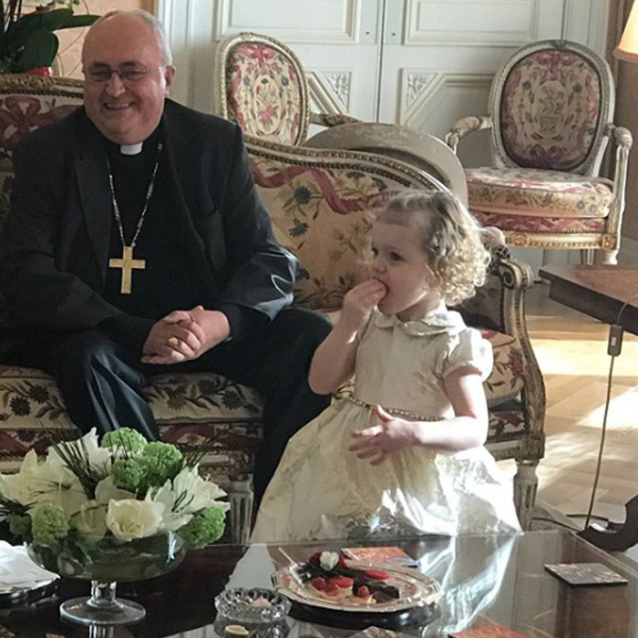 Princess Gabriella had quite the visitor for tea. Princess Charlene posted her daughter having a snack with Monsignor Barsi during a morning visit on November 18. Prince Jacques was also in attendance for the holy visit.