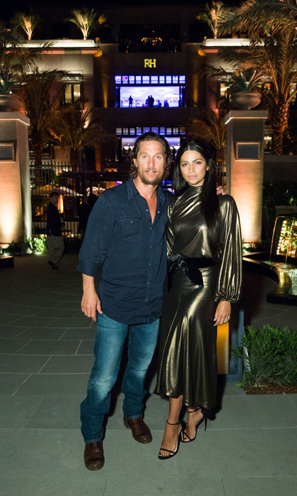 Matthew McConaughey and wife Camila Alves spent an evening out in Florida at the RH Palm Beach opening. The new Restoration Hardware store is a completely immersive experience with a waterfall and more.