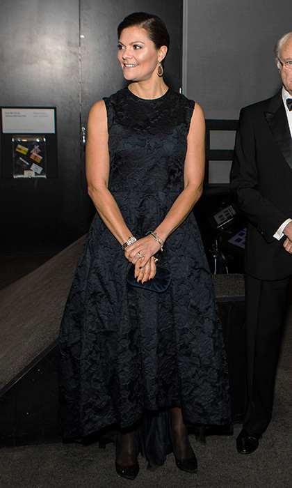 Sweden's future queen, Crown Princess Victoria, wore a fit and flare dress from the H&M Conscious collection as she stepped out with her parents King Carl XVI Gustaf and Queen Silvia for the Knut and Alice Wallenberg Foundation's centenary celebrations in Stockholm on November 14.