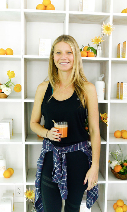 Newly engaged Gwyneth Paltrow hosted a workout at Love Yoga in Venice, California to launch the newest product in the goop line, goopglow Morning Skin Superpowder. 