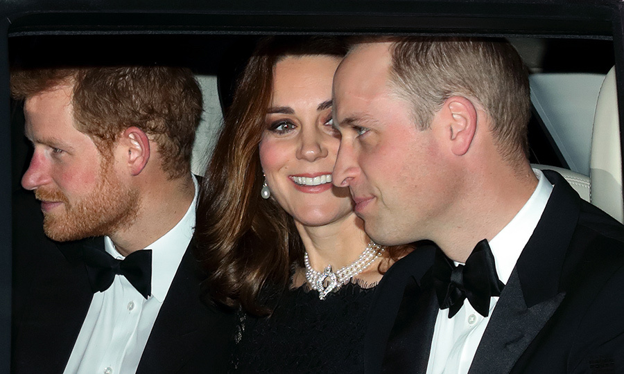 Prince Harry and his brother and sister-in-law, the Duke and Duchess of Cambridge, arrived together to Windsor Castle to attend Queen Elizabeth II and Prince Philip's 70th wedding anniversary dinner on November 20. Duchess Kate wore a pearl and diamond choker from the Queen's jewelry collection.