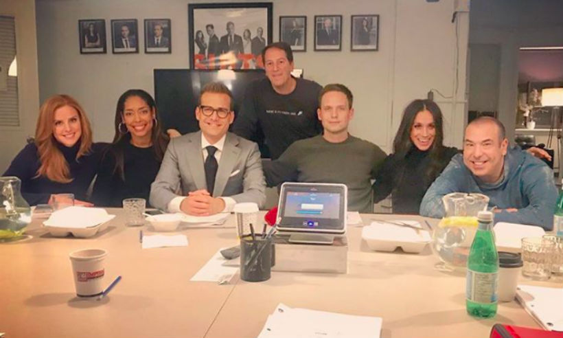Meghan posed with her fellow <I>Suits</I> cast members for the last time before wrapping up filming Season 7. The actress finished filming around the November 16, when her character, Rachel Zane, married Patrick J. Adams' character, Mike Ross.