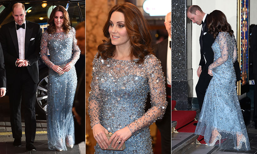 Duchess Kate looked typically stunning on November 24 as she attended the Royal Variety Performance at the Palladium Theatre in London accompanied by her husband Prince William. The mom-to-be was radiant in a stunning bespoke ice blue Jenny Packham gown, accessorizing the sparkling dress with her Oscar de la Renta heels, which she has previously worn.