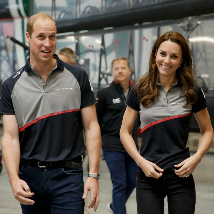 Red, grey and blue! Catherine and her royal hubby slipped into matching Land Rover polos as they toured the Land Rover BAR boat shed at the America's Cup World Series on July 24, 2016 in Portsmouth, England. They each paired their shirts with jeans and a big smile.