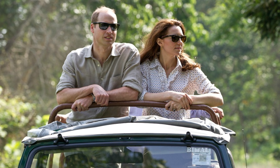 Royal safari! Between the matching shades, button down shirts, and an identical pose, Prince George and Princess Charlotte's parents looked totally in sync as they rode in an open air Jeep while on safari at Kaziranga National Park on April 13, 2016 in Guwahati, India. 