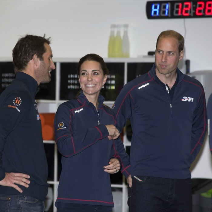 Once again, the royal husband and wife were totally twinning in BAR gear. Seen here, the pair shared a joke with Sir Ben Ainslie during a visit to the headquarters of Britain's Land Rover-backed BAR team during the America's Cup World Series event on July 26, 2015 in Portsmouth. 