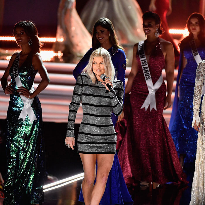 Fergie brought the house down as she took the stage with some of the contestants during the 2017 Miss Universe pageant. The superstar singer and mom performed her latest single <i>A Little Work</i> during the show's evening gown portion.