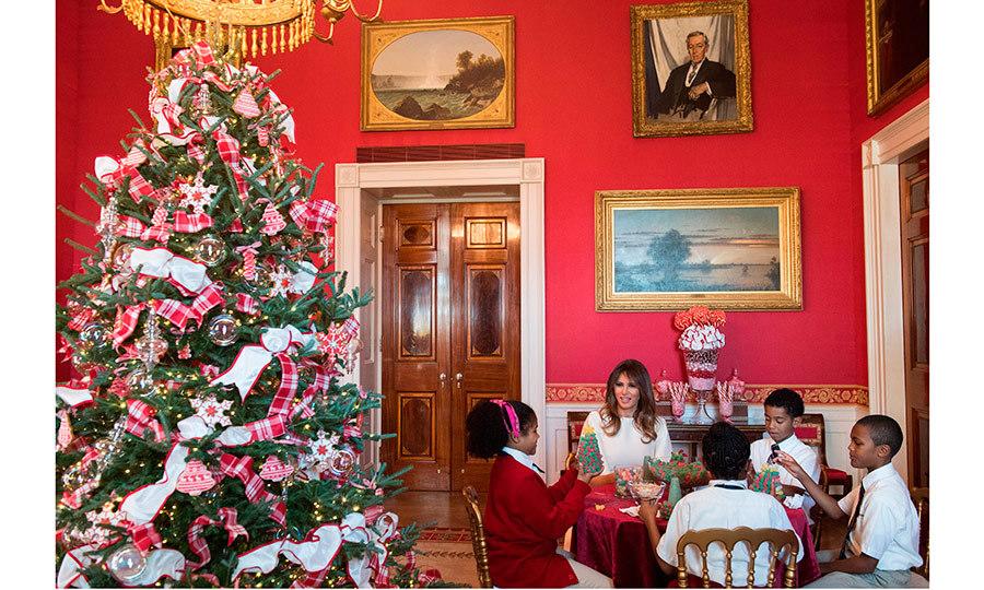 there was a sweet scene in the red room where candy canes cookies and - Melania Trump Christmas Decorations