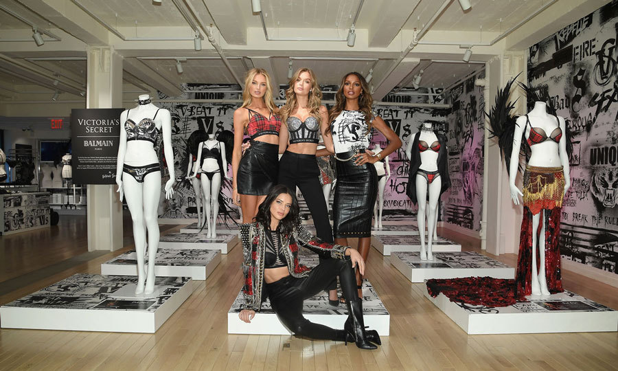 Fresh off the runway in Shanghai, Adriana Lima, Romee Strijd, Josephine Skriver and Jasmine Tookes made their way to New York City to show off the  VS x BALMAIN looks from the Victoria's Secret Fashion Show. 
