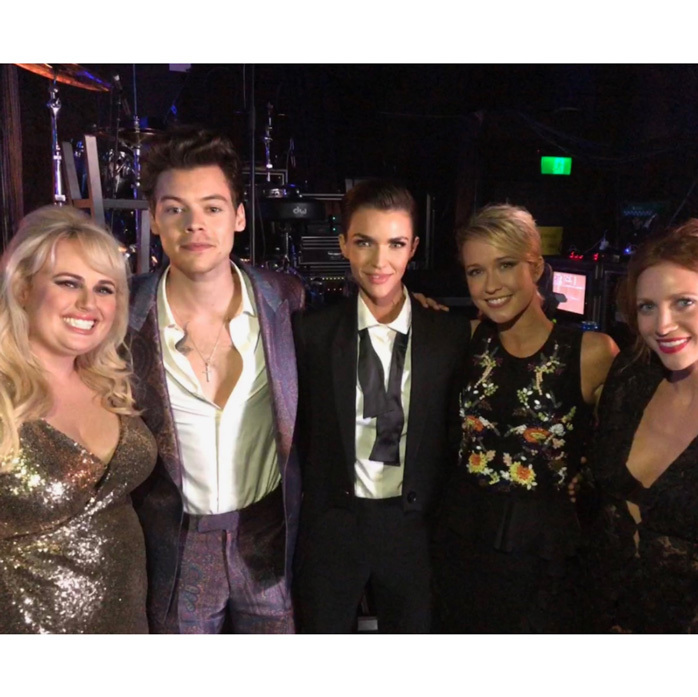 "Rebel Wilson and her <i>Pitch Perfect 3</i> co-stars had the honor of presenting Harry Styles with his ARIA award in Sydney. The Australian-native shared this photo on Twitter as well as another with the British singer and wrote: ""One Harry got engaged today and now here's hoping for two?? ❤️.""