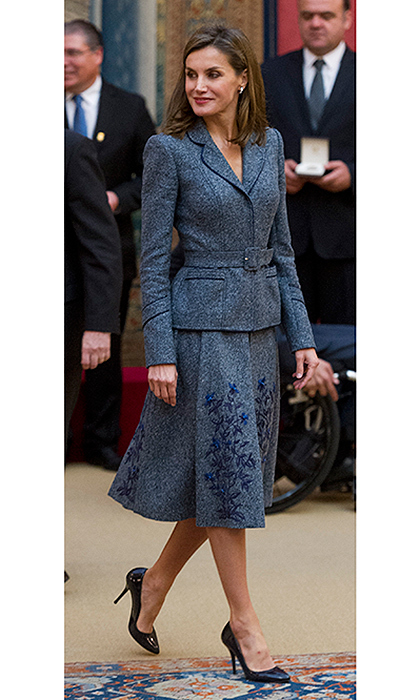 This must be a look she loves! Queen Letizia of Spain recycled the beautiful two-piece Felipe Varela skirt suit she wore in October on Spain's National Day. King Felipe's wife was attending the Reina Letizia Awards at the El Pardo palace in Madrid on November 21.