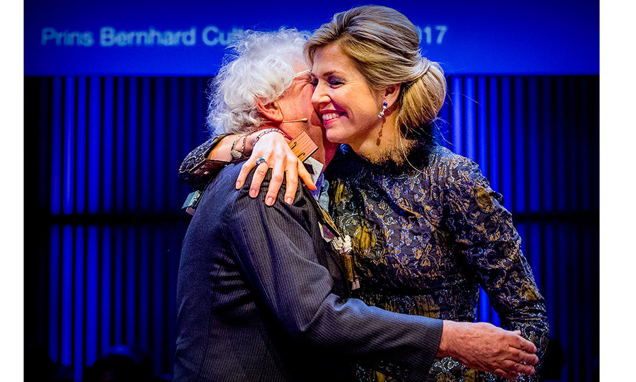 Queen Maxima of the Netherlands gave author and historian Geert Mak a huge hug as she helped honor him at the Prince Bernhard Culture Foundation awards in Amsterdam on November 27. The event is named after Prince Bernhard, late grandfather of Maxima's husband, King Willem-Alexander.