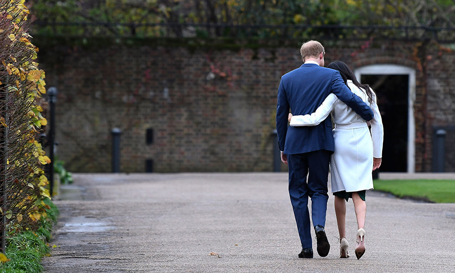 Prince Harry and his future wife Meghan Markle walked away from the press together following their first-ever joint photocall after their engagement announcement on November 27. Princess Diana and Prince Charles's younger son had earlier confirmed that he and the <I>Suits</I> actress plan to tie the knot in May. 