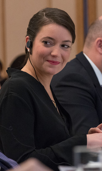 On her first official trip abroad with dad Grand Duke Henri, Princess Alexandra of Luxembourg kept her makeup look simple for their trip to Japan. Here, with her hair swept back, she wears just a hint of mascara and lip color at a daytime event.