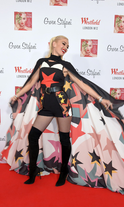 The stars are not blind! Gwen Stefani had fun with her cape during Westfield London's Christmas lighting on November 30. The <i>You Make It Feel Like Christmas</i> singer has been promoting her holiday album from coast to coast and now abroad.