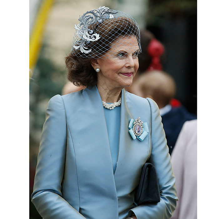 Gabriel's grandmother, Queen Silvia of Sweden, was elegant in pale blue, with a delicate facinator and veil. The queen consort and King Carl XVI Gustaf have six grandchildren under the age of six, with another on the way!