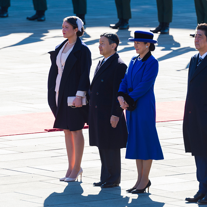 Princess Alexandra was seen with Crown Prince Narhito and his wife Crown Princess Masako during the official welcoming ceremony. 