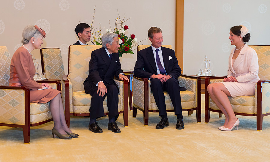 A poised Princess Alexandra sat alongside her father Grand Duke Henri during a chat with Emperor Akihito and Empress Michiko. The Luxembourg visit took place days before it was confirmed that the Emperor will step down in 2019.