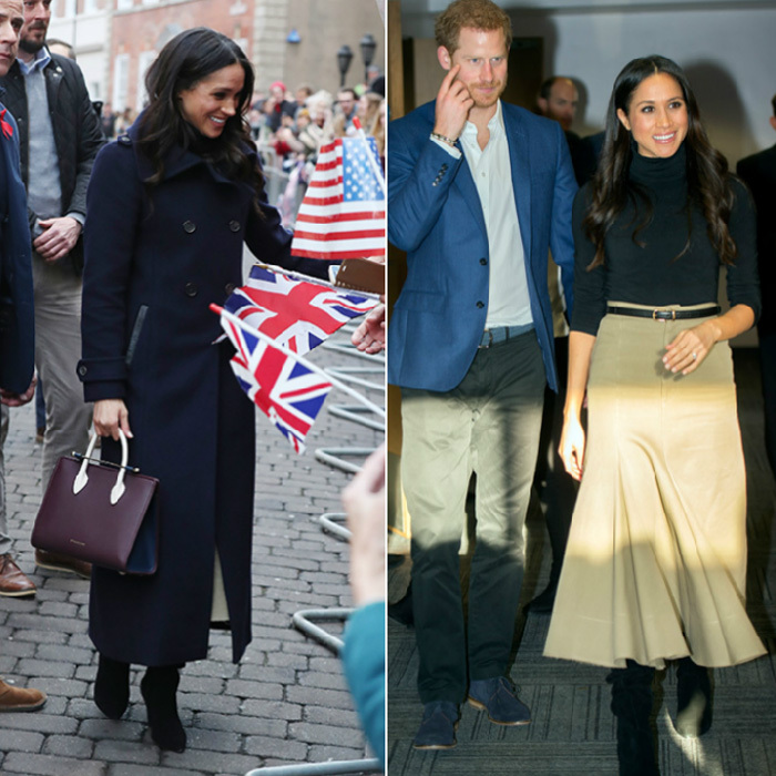 Joined by her husband-to-be Prince Harry, Meghan headed to Nottingham, England on December 1, for the royal couple's first public visit together since announcing their engagement. The former <I>Suits</I> actress looked stylish in a black Wolford turtleneck and beige Joseph skirt worn under her navy 'Elodie' coat by Canadian brand Mackage. Completing the look were black knee-high Kurt Geiger boots and a burgundy Strathberry purse. 