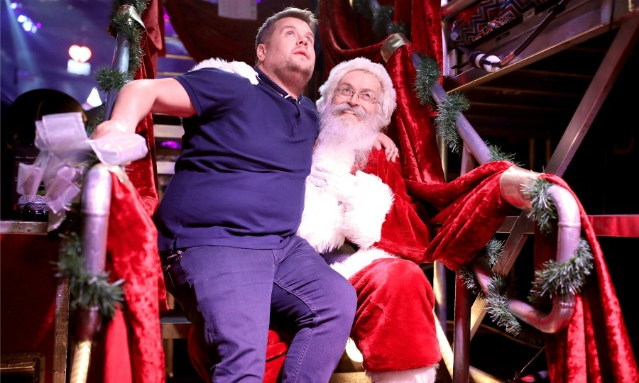 What do you want for Christmas? James Corden met the biggest star of all when he sleighed his performance at 102.7 KIIS FM's Jingle Ball 2017. The talk show host, who was spotted palling around backstage with all evening's guests, sat on Santa's lap.