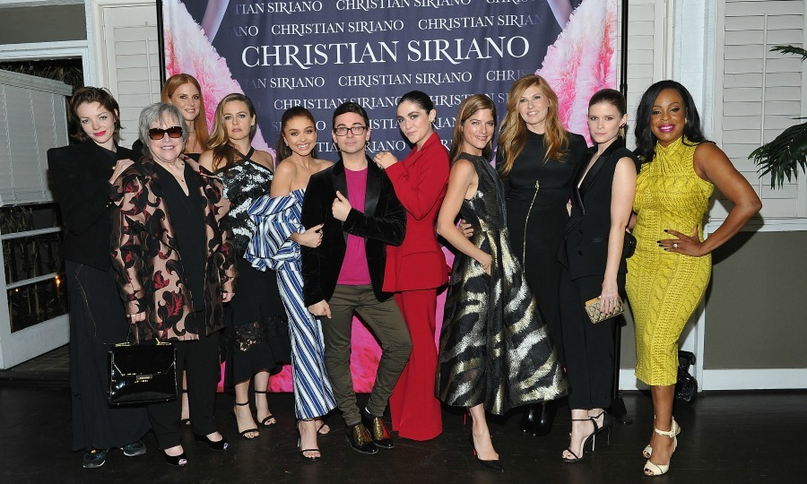 Celebrity sandwich! Christian Siriano posed with a group of incredible women while celebrating the launch of his new book <i>Dresses to Dream About</i> on November 30 at Chateau Marmont in West Hollywood. Seen here, the famed designer was supported by stars like: Alicia Silverstone, Sarah Hyland, Isabelle Fuhrman, Selma Blair, Sarah Rafferty, Connie Britton, Kathy Bates, Kate Mara, and Niecy Nash. Other celebrities that stepped out included: Kristin Chenoweth, Samira Wiley, Angela Bassett, Willow Shields, Helen Hunt and Michelle Trachtenberg.