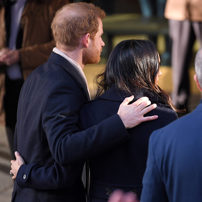 In Nottingham, the Prince and the actress were met by huge crowds, including royal watchers and press, who came to the city to catch a glimpse of the happy couple. While Meghan seemed perfectly at ease, there were moments when the pair leaned on each other, and it was clear that Prince Harry was tenderly reassuring his future wife throughout the event. 